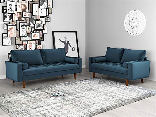 Container Furniture Direct Mid Century Modern Velvet Upholstered Button Tufted Living Room Sofa, 2 Piece Set, Prussian Blue (Sofa Set Tufted)