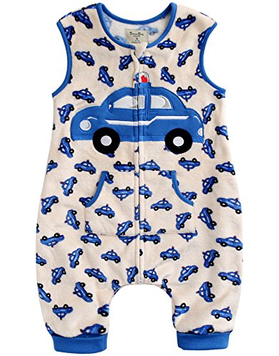 - Vaenait baby 1-7Y Ultra Soft Plush Fleece Kids Boys Wearable Blanket Slepper Blue Car L
