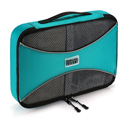 Pro Packing Cubes | 1x MEDIUM Travel Packing Cube |Ultra Lightweight Luggage Organizer for Travel | Featuring Durable Rip-Stop Nylon and Reliable YKK Zippers (Aqua blue) (Rubix Cube Storage Bag)
