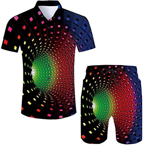 RAISEVERN Men\'s Casual Button-Down Shirts 3D Colourful Tunnel Print Short Sleeve Hawaiian T-Shirts Casual Aloha-Shirt for Holiday L