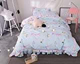 Sucastle Bedding cute princess four-piece cotton fresh lotus lace bed skirt bedspread cotton four-piece Sucastle:size:200230