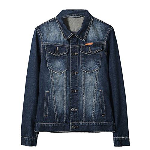 Long Azul Coat suave Jacket Tops Classic Mens Casual Outerwear Sleeve Collared Denim Zhhlaixing ZBfA7qw7