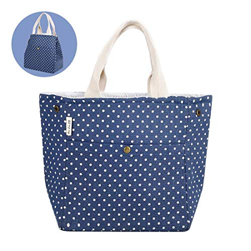 (Reusable Printed Lunch Bag Organic Cotton Insulated Lunch Box with Drawstring, Aluminium Foil | Cute Lunch Bags for Women/Men/Kids/Adult, Blue (Polka Dot))