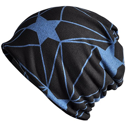 Thenice Women Dual purpose Star Slouch Beanie Skull Cap Baggy Hat Collar (Blue) (Collar Dual Star)