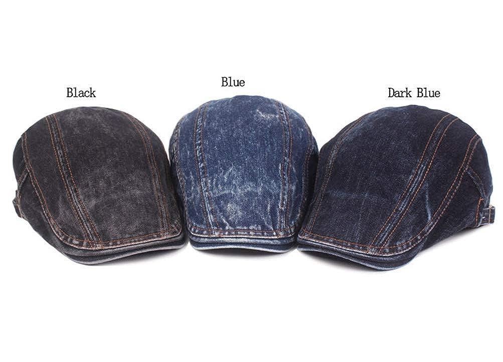 RICHTOER Men Literary Youth Washed Denim Jeans Newsboy Beret Hat Duckbill Buckle Cap