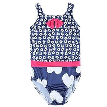 Nova - Traje de baño para niñas con flores y corazones - Lazos de contraste y cinturón - Azul marino/Blanco/Rojo - Talla 92