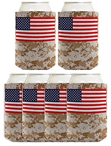 Mud Flag Flap American (Patriotic Beer Coolie American Flag Desert Digital Camo 4th of July 6 Pack Can Coolies)