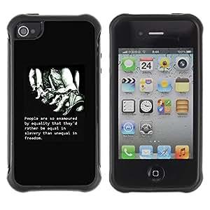 Fuerte Suave TPU GEL Caso Carcasa de Protección Funda para Apple Iphone 4 / 4S / Business Style freedom slavery deep intelligent quote