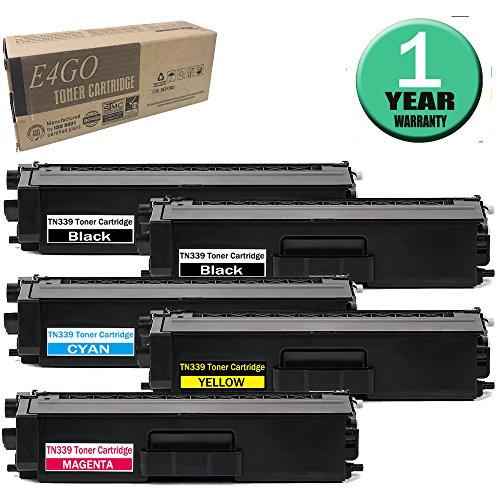 E4go TN339BK TN339C TN339Y TN339M Toner Cartridge Compatible for TN339 Toner Set 5 Pack (2Black, Cyan, Yellow, Magenta), use in Brother HL-9200CDWT HL-8350CDW DCP-L8450CDW MFC-L9550CDW MFC-8850CDW by E4go