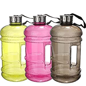 2.2 Litre(74OZ) Sport Water Bottle By Mounchain Portable Plastic BPA Kettle Water Jug Drinking Bottle Durable Extra Strong Easily Accommodates Ice Cubes for Gym Fitness Outdoor Activities Black