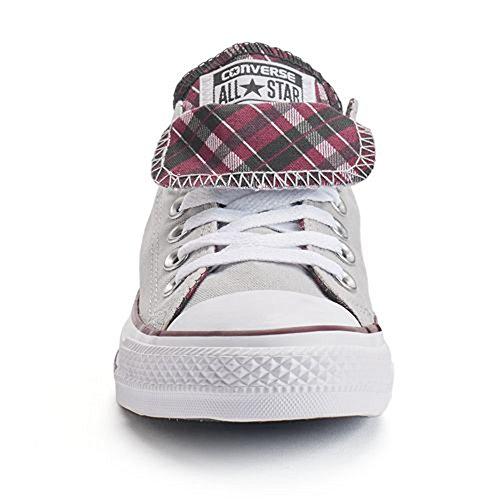 Converse Chuck Taylor All Star Sneaker Con Doppia Linguetta Fashion, Grigio Cenere / Bordeaux / Bianco