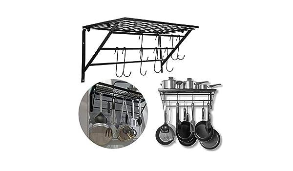 Y·z Organizador de sartenes Negro Metal Que cuelga Pan de Pared del pote montado en Rack con 10 Ganchos de Almacenamiento Organizador de la Cocina organisateur Colgador de Cocina Cocina: Amazon.es: Hogar