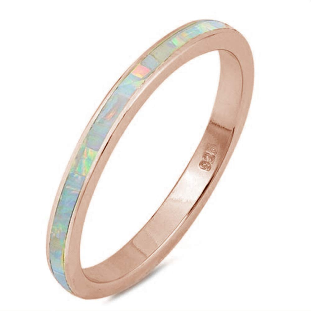 Oxford Diamond Co .925 Sterling Silver Womens Lab Created Opal Eternity Wedding Stackable Band Ring Sizes 4-12 Colors Available!