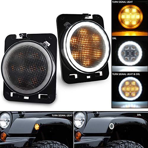 Jeep LED Side Marker Lights, SEUYA Front Fender Parking Lights Smoked Lens Amber LED Turn Signal with Halo Ring DRL for 2007-2017 Jeep Wrangler JK JKU 1 Pair