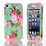 Lantier For iPod Touch 5 Case,Hybrid 3 Layers Hard Cover with Silicone Shell Inside Case Plastic TUFF Camo Triple Quakeproof Drop Resistance Protective for iPod Touch 5 5th Generation with Screen Protector and Stylus Pen Blue Flowers/Pink