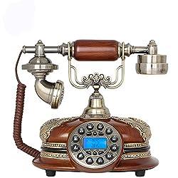 Brown Antique Push Button Corded Home & Desk Phone Retro Vintage Telephone