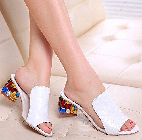 2015 Art- und Weisefrauen für Dameschuhe Slipper Strass Flip flops offene Spitze Schuhe Sandalen weiß