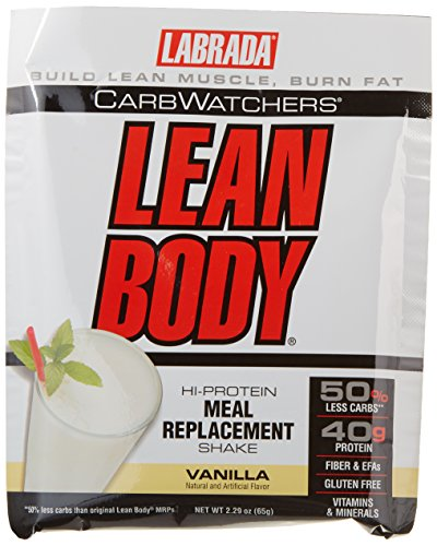 Lean Body Carb Watchers Shake - Labrada Nutrition Carb Watchers Lean Body Hi-Protein Meal Replacement Shake, Vanilla Ice Cream, 2.29-Ounce Packets (Pack of 20)