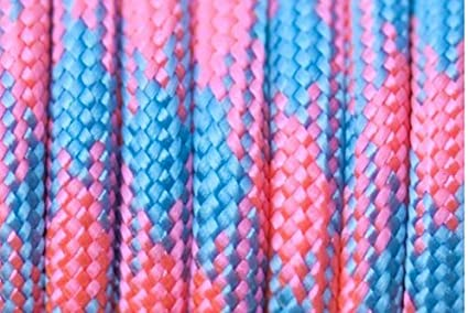 Cotton Candy Paracord 550 Blue and Pink 20 Foot Hank Nylon Craft Cord High Quality