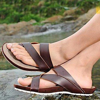 Sandalias de verano zapatos de hombre exterior / Trabajo y deber / Casual zapatillas cuero Nappa marrón Brown