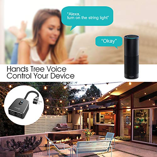 VAVOFO Outdoor Smart Plug, WiFi Outlet with 2 Sockets, Compatible with  Alexa Google Home, IP44 Waterproof, Wireless Remote Control Timer &  Countdown