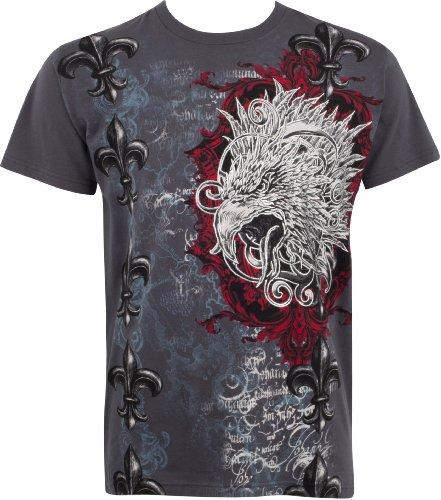Sakkas Eagle Head and Fleur de Lis Metallic Silver Embossed Cotton Mens T-Shirt