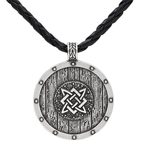 (Xicoh Men Slavic Worrior 's Shield Amulet Pagan Solar Pendant Necklace Double Side with Gift Bag )