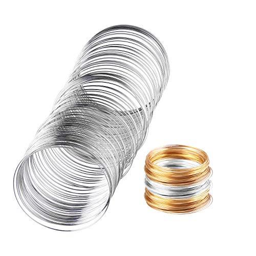 - Teemico 400 Loop DIY Memory Beaded Alloy Wire, Wound Jewelry Line, Stainless Steel Bracelet, Handmade DIY Jewelry Accessories Bracelet (Silver and Gold), 2.4