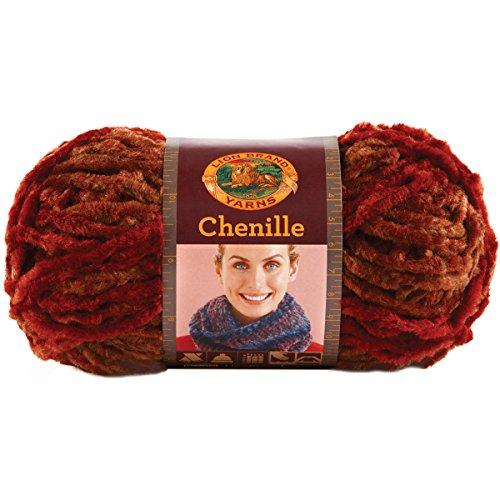 Lion Brand Yarn 531-203 Chenille Yarn, Brick (Yarn 110 Yard)