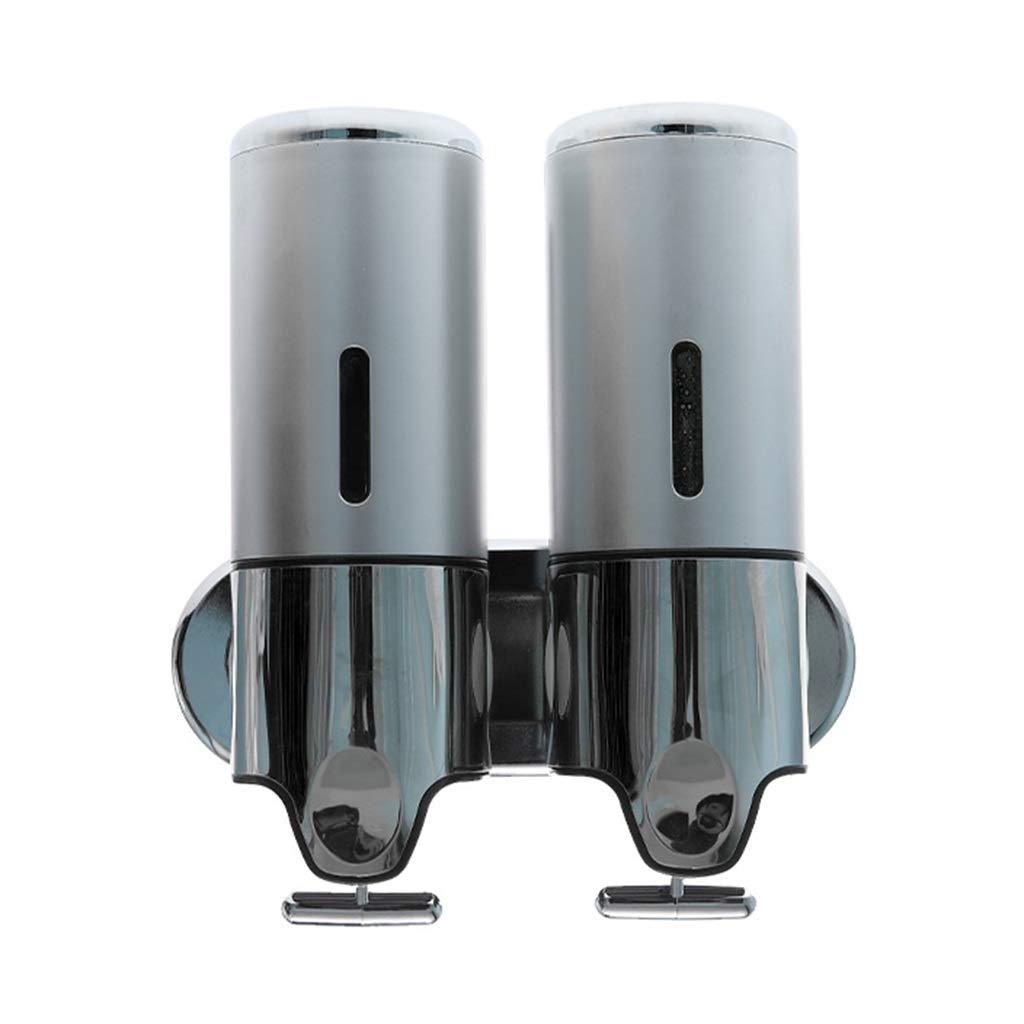 Ppy778 Soap Dispenser Emulsion Dispenser, Wall-Mounted Shower Gel Bottle, Kitchen Bathroom Double Barrel Large Capacity Bracket soap Dispenser (Color : Black, Size : 21.313.7CM) by Ppy778