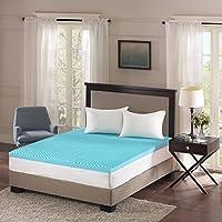 Sleep Philosophy Flexapedic Gel Memory Foam Mattress Protector Cooling Bed Cover Queen Blue