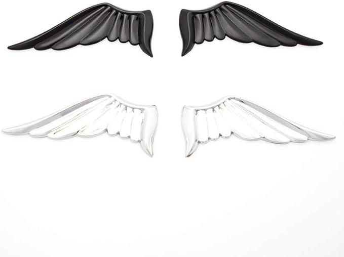 Pair Matte Silver Metal Angel Wings Car Motorcycle Emblem Badges Decal Sticker