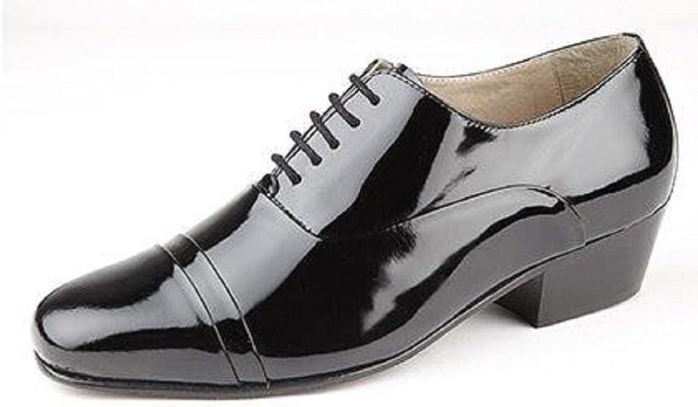Mens Cuban Heel Shoes Black Leather Laced Formal Dress Wedding Montecatini