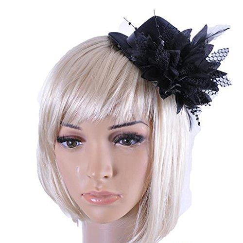 Song Flower Decor Hair Clip Feather Fascinator Burlesque