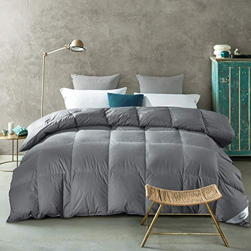 WarmKiss Luxurious White All Goose Down Comforter Duvet Insert 100% Grey Color Cotton Shell 750 Fill Power All Season Hypoallergenic (Queen, 35 OZ)