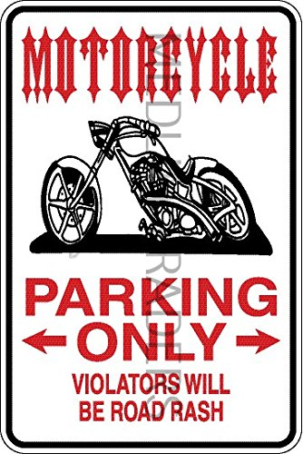 Novelty Parking Sign, Motorcycle Parking Only Aluminum Sign S8284 by Medlin Traders