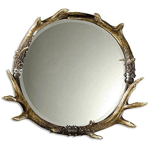 Uttermost Brown/Ivory Round Stag Horn Framed Rustic Wall Mirror
