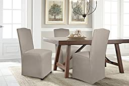 Serta 1 Piece Reversible Stretch Suede Dining/Parsons Chair Long Skirt Slipcover, Brown/Ivory