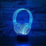 3D DJ Headphone Night Light Music Monitor Headset Coloful Earphone LED Table Lamp Bedroom Decor Sleep Lighting Best Gifts,Touch