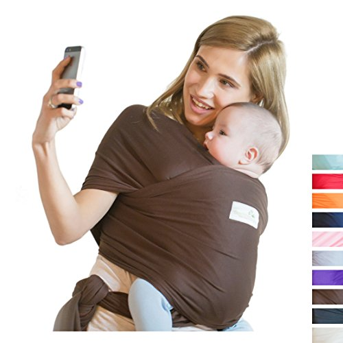 Beechtree Baby Classic Cotton Baby Wrap | Baby Carrier | 10 Colors | SOFTER and STURDIER Proprietary Fabric | Breastfeeding Sling Baby Holder | Great Baby Shower Gift - Brown by Beechtree Baby