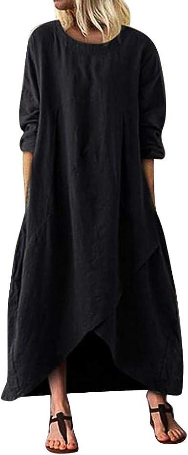Vestidos de algodón y lino, de gran tamaño, casuales, de color sólido, manga corta, vestido de