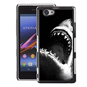 A-type Arte & diseño plástico duro Fundas Cover Cubre Hard Case Cover para Sony Xperia Z1 Compact / Z1 Mini (Not Z1) (Jaws Shark Black White Surfing Surf)