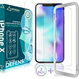 DEFENSLIM iPhone X Screen Protector (2 Pack), Tempered Glass Anti Impact, Case Friendly Design by Witkeen, Flexible Anti-Shatter with Guide Frame for Apple iPhone X 2017