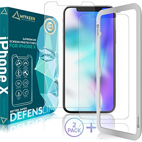DEFENSLIM iPhone X Screen Protector (2 Pack), Tempered Glass Anti Impact, Case Friendly Design by Witkeen, Flexible Anti-Shatter Invisible Shield, with Guide Frame for Apple iPhone X 2017