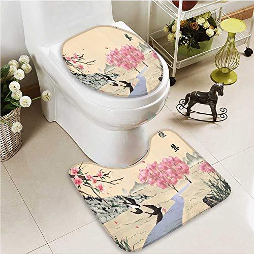 Printsonne 2 Piece Anti-slip mat set Jingzhe solar term ink painting Anti-slip Water Absorption by Printsonne