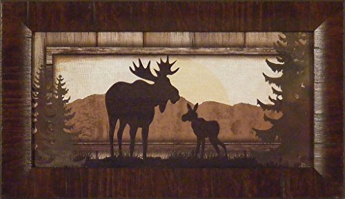 Moose by Jennifer Pugh 11x19 Bull Calf Silhouette Pine Trees Cabin Lodge Framed Art Print Wall Décor Picture