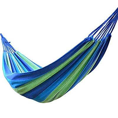 Winterworm Outdoor Indoor Portable Furniture Thickening Canvas Cotton Fabric Cloth Stripe Hammock Swing Hang Sleeping Bed for Camp Travel Camping Travelling Beach Garden Blue (200cmX150cm) - Breathe freely, Absorb sweat Durable and dirt-proof design Convenient and quick to set up - patio-furniture, patio, hammocks - 51KrV3vsAgL. SS400  -