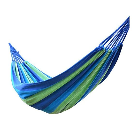 Winterworm Outdoor Indoor Portable Furniture Thickening Canvas Cotton Fabric Cloth Stripe Hammock Swing Hang Sleeping Bed for Camp Travel Camping Travelling Beach Garden Blue (200cmX150cm) - Breathe freely, Absorb sweat Durable and dirt-proof design Convenient and quick to set up - patio-furniture, patio, hammocks - 51KrV3vsAgL. SS570  -