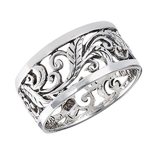 Oxidized Eternity Filigree Leaf Vintage Ring 925 Sterling Silver Band Size 9 ()