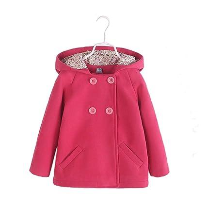 2016 Ropa de lana con capucha, Bañador para bebé de invierno niñas bolsillos abrigo de